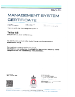 Telko ISO 9001:2015 Certificate
