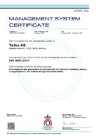 Telko ISO-9001-110035-2012 Certificate